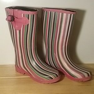 Ranger Colorful Striped Women's Rain Boots Size 7